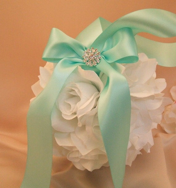 Set of 10 Deluxe 7 Inch Silk Rose Pomanders with Rhinestone Accent.. You Choose The Colors...shown in white/aqua