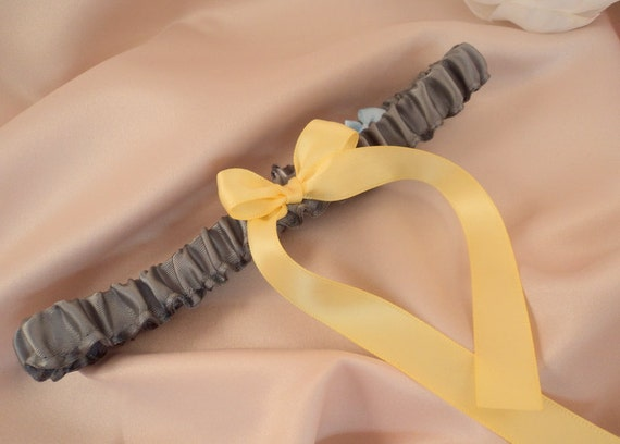 Simple Satin Bridal Garter with BONUS Something Blue..You Choose The Colors..shown in pewter/canary yellow