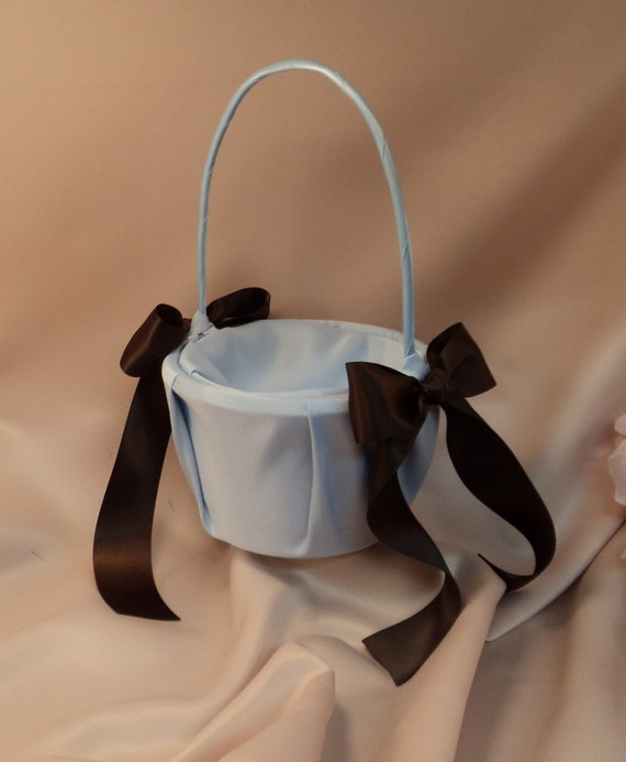 Custom Colors Satin Flower Girl Basket..BOGO Half Off..You Choose The Colors..Shown in light blue/chocolate brown