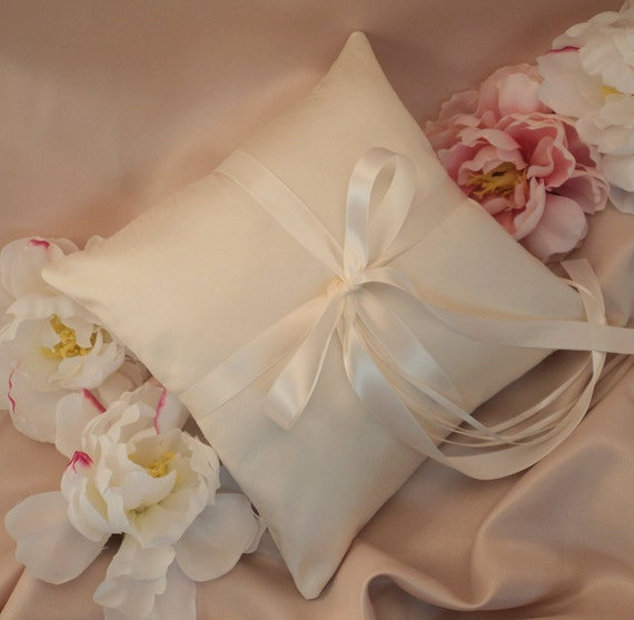 Simple Satin and Silk Ring Bearer Pillow..Buy One Get One Half Off...shown in cream ivory/ivory