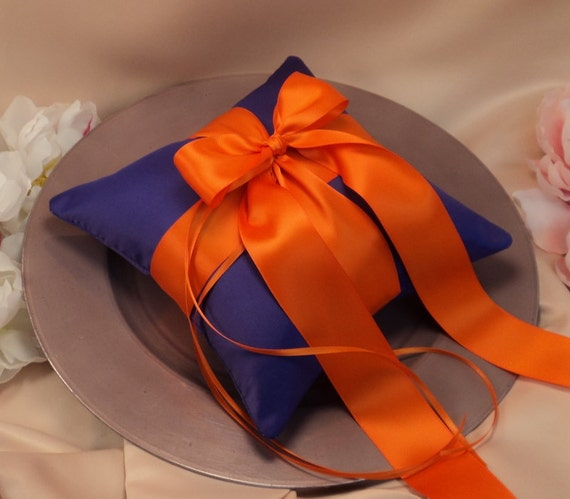 Romantic Satin Ring Bearer Pillow...You Choose the Colors...Buy One Get One Half Off...shown in royal purple/orange