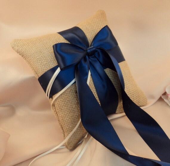 Rustic Earthy Burlap Ring Bearer Pillow With Satin