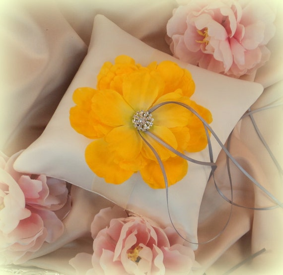 Romantic Peony Bloom Ring Bearer Pillow with Crystal Rhinestone Accents..shown in ivory/ivory/yellow/silver