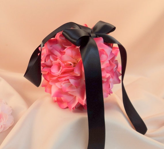 Set of 10 Deluxe 7 Inch Silk Flower Pomanders..You Choose The Colors...shown in pink/black