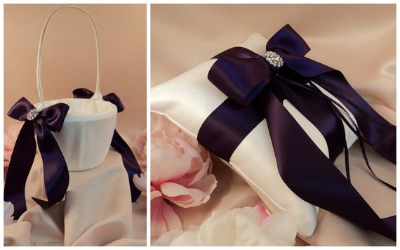 Custom Colors Satin Elite Ring Bearer Pillow and Flower Girl Basket Set...You Choose the Colors...shown in ivory/eggplant purple