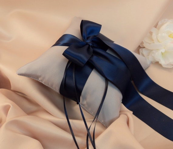 Romantic Satin Ring Bearer Pillow...You Choose the Colors...Buy One Get One Half Off...shown in silver/navy blue midnight