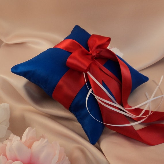 Romantic Satin Ring Bearer Pillow...You Choose the Colors...Buy One Get One Half Off...shown in royal blue/red/white