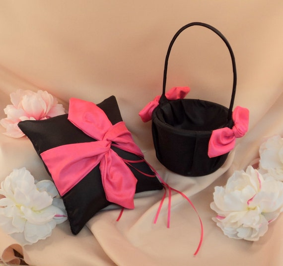 Knottie Style Flower Girl Basket and Ring Bearer Pillow Combo..You Choose The Colors..shown in black/hot pink fuschia