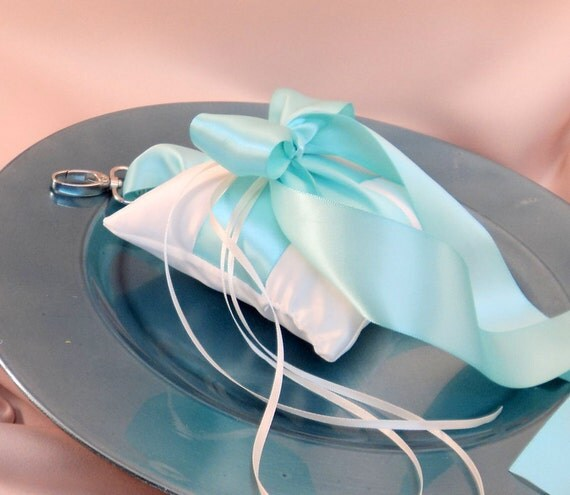 Pet Ring Bearer Pillow...Made in your custom wedding colors...shown in ivory/aqua