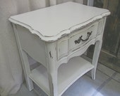 Shabby White French Provincial Vintage Nightstand / End Table - Chic NS103