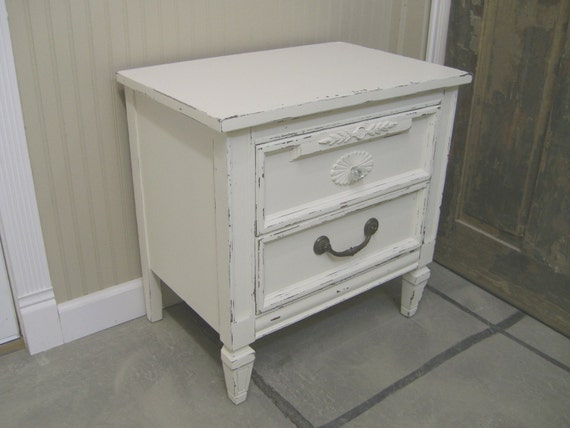 White Nightstand And Dresser: Shabby Linen White Vintage Dixie Nightstand/ Chest-Chic