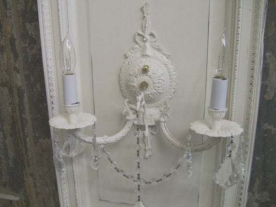 Vintage Plug In Wall Sconces : Shabby White Vintage Ornate Plug-in Wall Sconce Chic