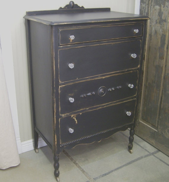 Shabby Black Tall Dresser Chest Chic