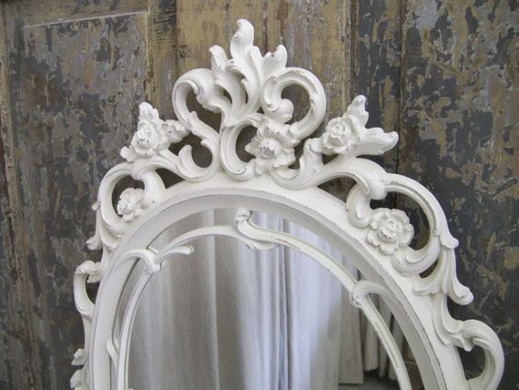 Shabby white rococo style oval mirror chic for White baroque style mirror