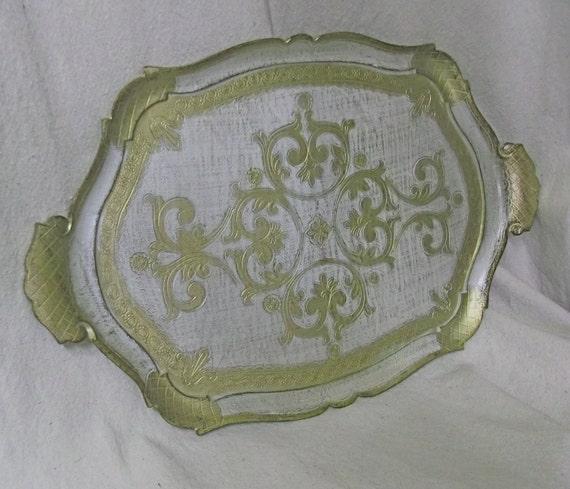 Vintage Florentine Decorative Tray - Gold, White