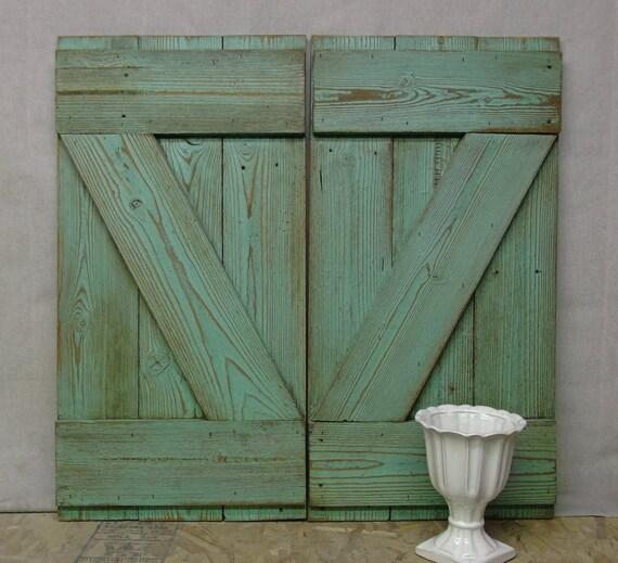 Shabby Reclaimed Wood Aqua Painted Farmhouse Shutters - Chic SH603