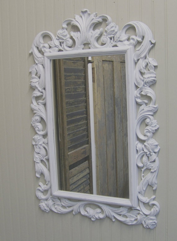 white distressed mirror shabby painted distressed white scrolly framed mirror 1024