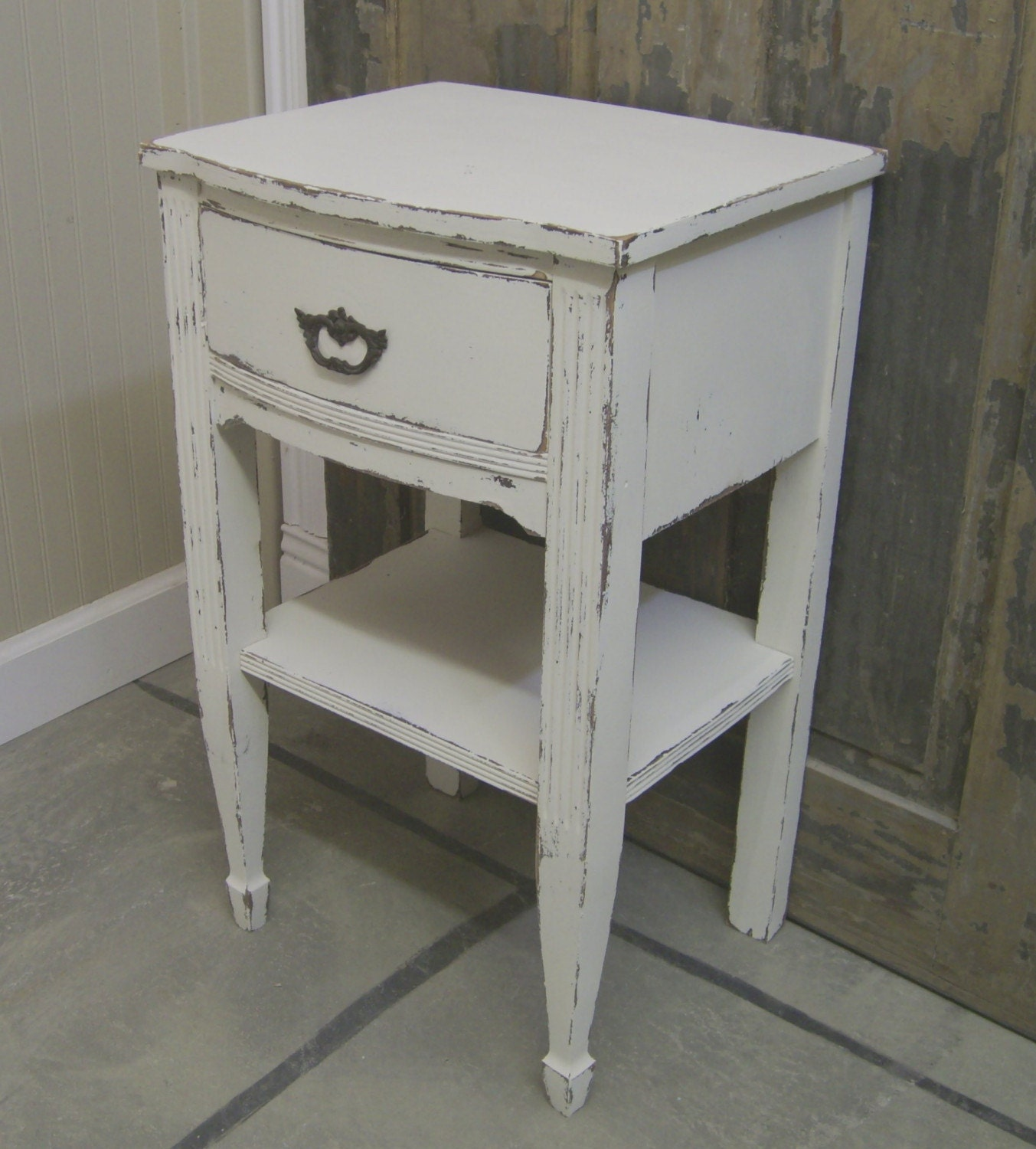 Shabby linen white vintage nightstand end table free for White end table