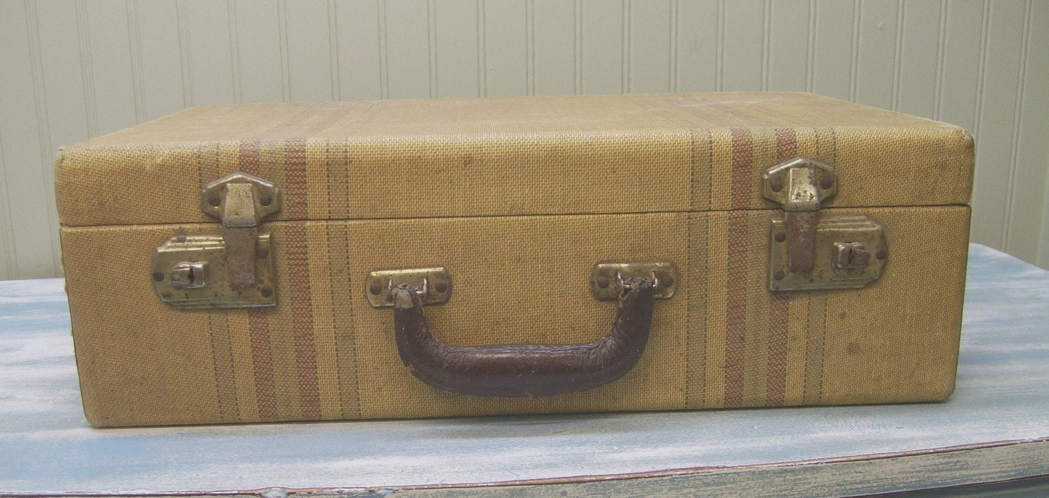 Vintage Luggage 1940 S Suitcase Striped Tweed