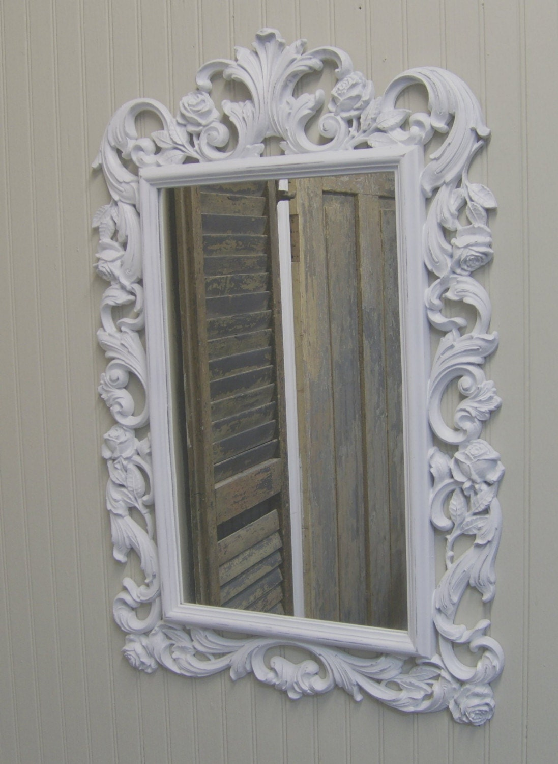 shabby painted distressed white scrolly framed mirror. Black Bedroom Furniture Sets. Home Design Ideas