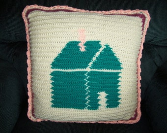 Pillow. Handmade, reversible, home, heart, crochet, unique, home decor, couch pillow. Home is where the Heart is.