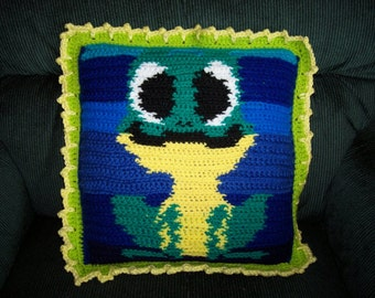 Pillow, reversible, home decor, colorful, frog. Mr. Froggy on a lily pad
