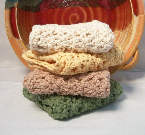 Dishcloths, cotton. Great kitchen helpers and for chores around the home.