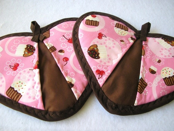 Pink Cupcake Potholder Set of Two