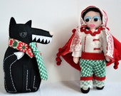 Red riding hood collectible dolls - plush felt dolls - ''Red Riding Hood and her Big Bad Dandy Wolf'' - entirely hand sewn - OOAK