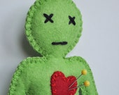 Voodoo Doll - Apple Green breakup doll - love spells and black magic - anthropomorphic and stress release doll - hand sewn -OOAK