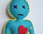 Voodoo Doll pincushion - dual color peacock blue and yellow breakup doll - magic spells - anthropomorphic - stress release - hand sewn -OOAK