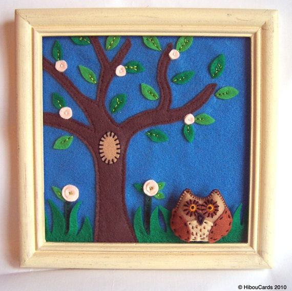Spring Feltscape - Framed felt Landscape with tree and bird ''Spring Owl'' - wall decor - (OOAK)