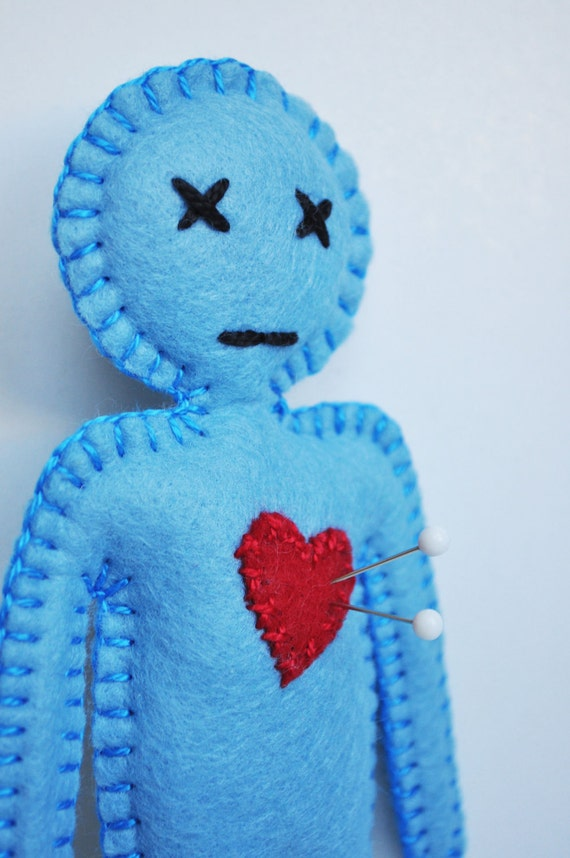 Voodoo Doll - powder blue breakup doll - love spells and black magic - anthropomorphic and stress release doll - hand sewn -OOAK