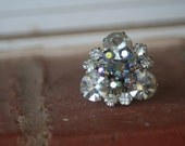 R22 Upcycled Pale Blue Crystal AB Flower and Diamond Rhinestone Adjustable Cocktail Ring