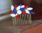 H33 RED White and BLUE Patriotic FIRECRACKER Vintage Upcycled Rhinestone Bridal Hair Comb