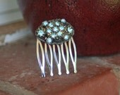 H129 Something Tiffany Blue Vintage Upcycled Antique Brass Rhinestone Hair Comb
