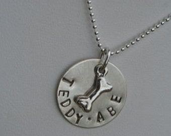 MOTHER of ANOTHER Breed Hand Stamped Sterling Silver Dog DOGGY Name Tag Necklace