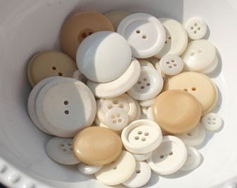Cream and Beige Textured Vintage Buttons