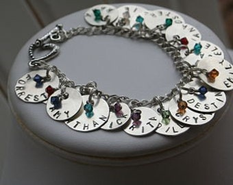The GrandMother of All Brag Bracelets - Sterling Silver 10 Name Discs Charms Mother Great Grandmother