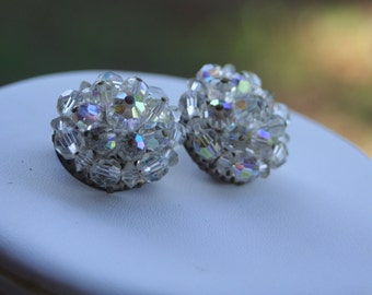 Vintage Cluster Crystal AB GORGEOUS Clip On Earrings