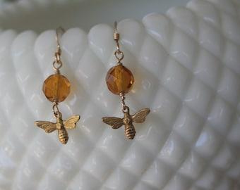 HONEY BEE Vintage Amber Czech Glass Gold Filled Earrings