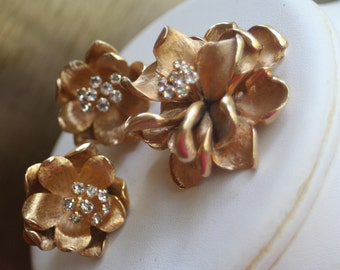 MARVELLA Gold Rose Rhinestone Brooch and Clip On Earring Set