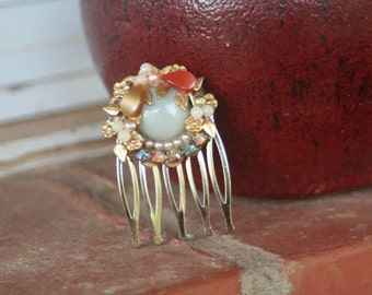 H171 Fruit Salad Vintage Spring Flowers Filigree Rhinestone Upcycled Hair Comb
