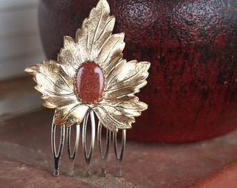 H167 Vintage Upcycled Gold Leaf  Goldstone Hair Comb