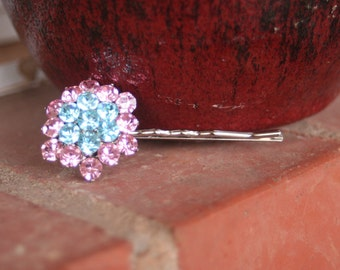 H107 Vintage Pretty in Pink and Something Blue Flower Cluster Rhinestone Hair Pin