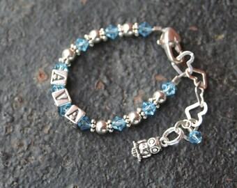 Custom Order OWL Sterling Silver 4.5 mm Block Letter Newborn BABY bracelet 5 LETTERS