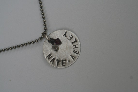 Custom Mommy Hand Stamped Brushed Oxidized Sterling Silver ONE DISC Two Name Necklace