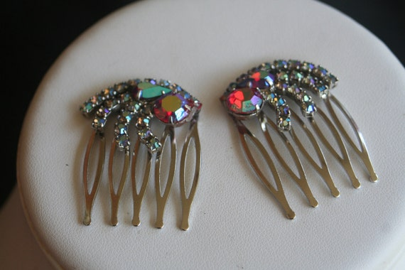 Red Rhinestone Crystal AB Upcycled Vintage Hair Combs