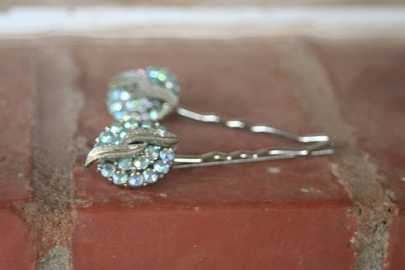 RESERVED for John Rhinestone Light Blue Crystal AB Hair Pins CORO Upcycled