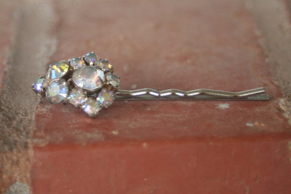 RESERVED for CHARLENE Vintage Rhinestone Silver Cluster Crystal AB Diamond Upcycled Hair Pin